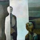Zwei Einsame, 1986, Öl auf Leinwand, 50 x 40 cm ,Inv.Nr. B07-259